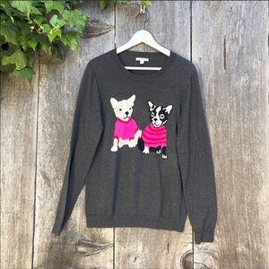 J.Crew Mercantile French bulldog grey sweater A17